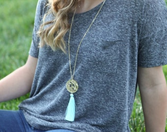 Monogrammed Scallop Acrylic Tassel Necklace