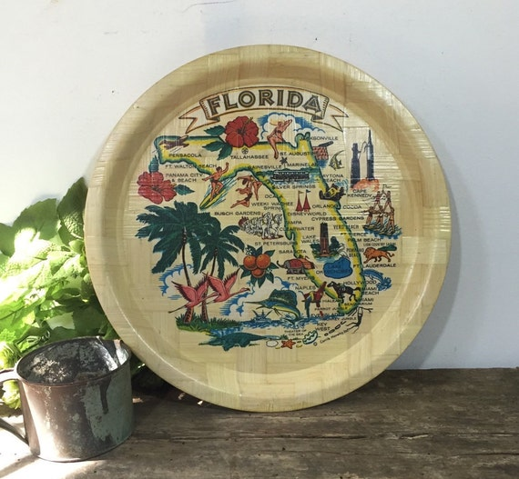 Vintage Florida Souvenir Cocktail Tray Mid-Century Home Decor Vintage ...