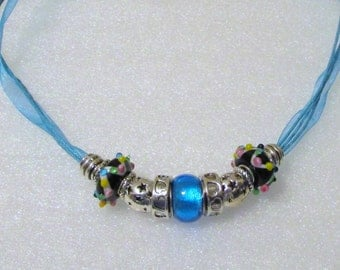 884 - Aqua Beaded Necklace