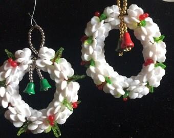 Two Handmade White Wreath Ornaments