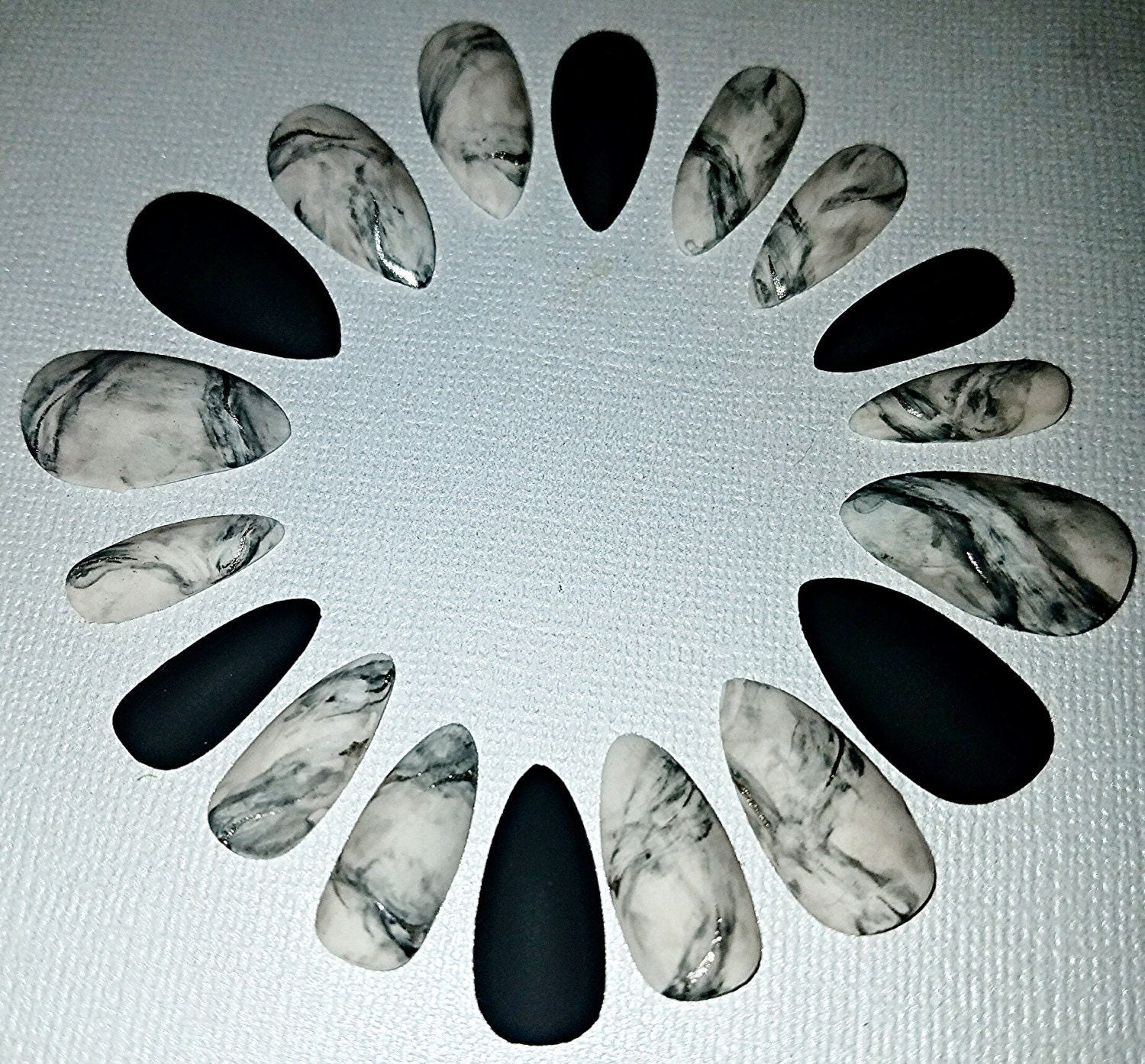 Marble Nail Art Stiletto: Marble Stiletto Nails Press On Nails Glue On Nails Acrylic