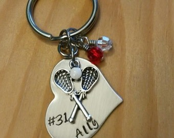Hand Stamped Lacrosse Keychain - Girls Lacrosse Keychain - Lacrosse Gifts - Team Colors - LAX Team Gift