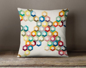 Colourful pillow cover, geometric cushion cover, modern pillow case, decorative throw pillow, nursery, pillow cover, geometric pillow cover
