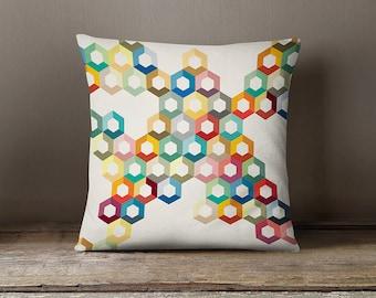 Colourful pillow cover, geometric cushion cover, modern pillow case, decorative throw pillow, nursery, pillow cover, geometric pillow cover