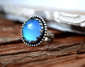 sterling MOOD RING hand made floral oxidized  silver ring with color changing mood stone glass cab, Size 8 US