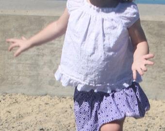 Baby - Purple Diamond Skirt and Geometric Satin Trim (3-6, 6-12 months)
