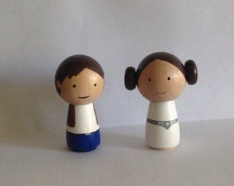 Star Wars Princess Leia Hans Solo Kokeshi Peg Doll Set