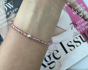 Small Light Pink Swarovski Crystal Stretch Bracelet