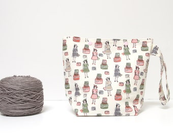 Snap knitting project bag, ladies with hat boxes crochet bag, sock project bag
