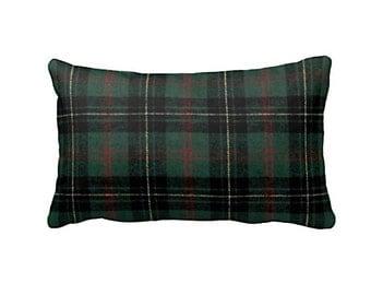 Pillow Covers Decorative Pillows Plaid Throw Pillows Green Pillows Plaid Pillows Plaid Lumbar Pillows Plaid Cushion Covers Man Cave Decor