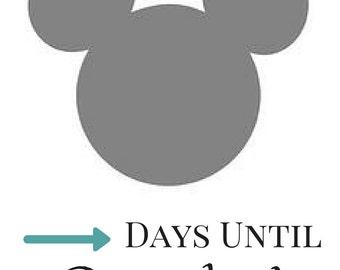 Disney Countdown Calendar - Printable Mickey Mouse Calendar - Instant Download PDF - Disney Trip Countdown- Disneyland