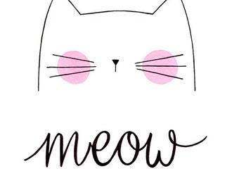 Nursery Art, Cute Cat Art, Meow, Cat Print, Nursery Decor, Art Print, Children Art