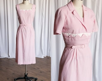 Caldwell dress set | vintage 50s dress | pink gingham dress & jacket | pink 50s dress | pink cotton gingham dress | pink 1950s dress