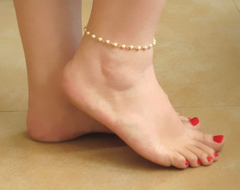 Gold Ankle Bracelet , Gold Anklet , Ankle Bracelets , Pearl Ankle Bracelet , Gold Anklet Bracelet , Pearl Anklet , Foot Jewelry