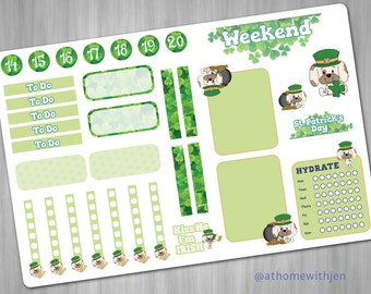 St. Patrick Day Planner Kit Weekly March Stickers for your Erin Condren Life Planner, Plum Planner, Filoflax