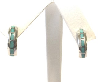 Sterling Silver And Turquoise Crescent Earrings