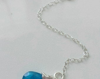 Neon Apatite Necklace,  Rainbow Moonstone Necklace, Sterling Silver Y Necklace, Moonstone Y Necklace