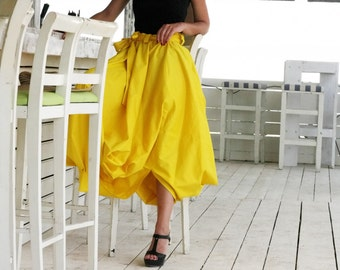 Yellow Skirt / Maxi Skirt / Cotton Skirt / Long Skirt / High Waist Skirt / Black Skirt / Boho Skirt / Cotton Dress / Girls Skirt / S8416