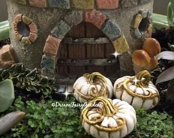 Halloween Fairy garden, mini pumpkins, fairy garden white pumpkins, miniature cinderella pumpkins, miniature castle pumpkins