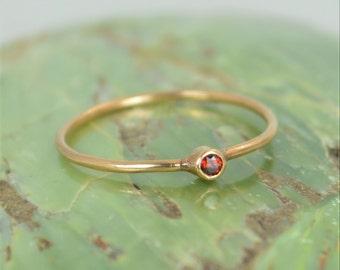 Tiny Garnet Ring, 14k Solid Rose Gold Garnet Ring, Garnet Stacking Ring, Garnet Mothers Ring, January Birthstone, Garnet Rings, Tiny Ring