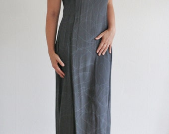 90s spaghetti strap maxi dress / gray abstract pattern / more & more / M L