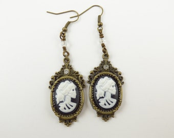 Crystal Lolita Skeleton Cameo Dangle Earrings