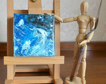 Small blue abstract painting, mini art on canvas, unique gift, OOAK blue artwork, 4 x 4, blue decor, blue swirls, free shipping