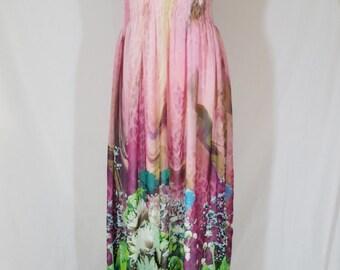 Maxi Flowers Print Dress, Summer Evening Dress