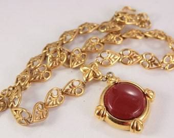 Red Jasper Necklace Monet Signed Necklace Vintage Deep Red Pendant Jewelry Medallion Necklace