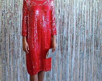 La Deanne - 1970s red sequin party dress