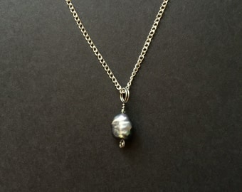 Wire Wrapped Black Pearl Necklace