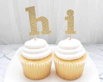 CUSTOM lowercase letter / monogram cupcake topper SET of 12 - customize letters, birthday, wedding, baby, celebration, party decor