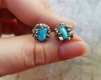 Small Turquoise Earrings, Birthday Gift, Hypoallergenic Earrings, Turquoise Jewelry, Womens Stud Earrings, Womens Turquoise Jewelry