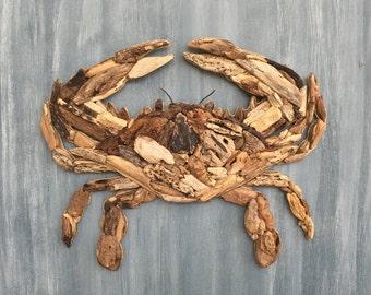 Driftwood Crab Coastal Wall Decor