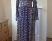 ICONIC India Imports Of Rhode Island Adini EXQUISITE Gauze Block Print Caftan Retro Maxi Dress Size Small