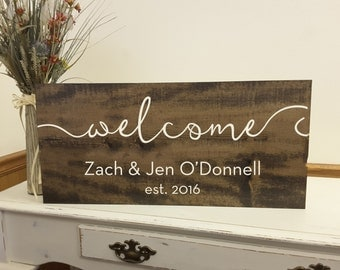 Welcome Sign, Welcome Wedding Sign, Welcome Home, Welcome to our Wedding Sign, Beautifully Engraved Family Name Sign