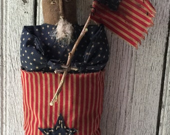 "Primitive Folk Art Americana 4th of July 12"" Uncle Sam Stump Doll"