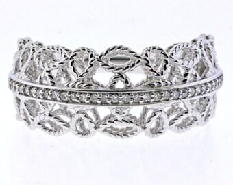 Diamond Filigree Ring in Sterling silver .925- size 7