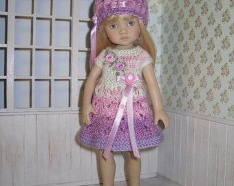Set for Dianna Effner Boneka 10 inches doll  - knitted and embroidered dress and hat.