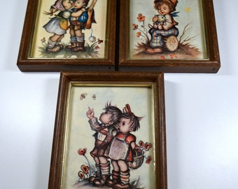 Vintage Hummel-Like German Children Framed Art Set of Three German Children Playing Intercraft Industries Vintage Framed Wall Art