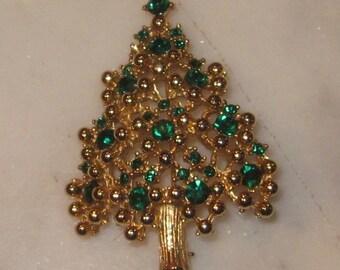 Vintage Signed Eisenberg Green Rhinestones set in Gold tone Metal - Christmas Tree Brooch