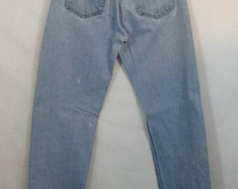 90s Levi's 505 Jeans, Vintage Light Blue Zipper Fly Distressed Denim 32/34