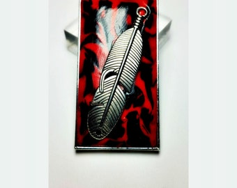 Silver Feather Red and Black Tribal Necklace Handmade by Me FREE SHIPPING!
