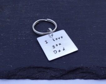 I Love You Dad Keyring, Hand Stamped Keyring, Dad Keyring, Love You Keyring, Love Keyring, Fathers Day Keyring, Fathers Day Gift, Dad Gift