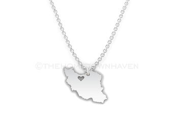Iran Necklace - Iran heart necklace, Iran charm necklace, I love Iran necklace