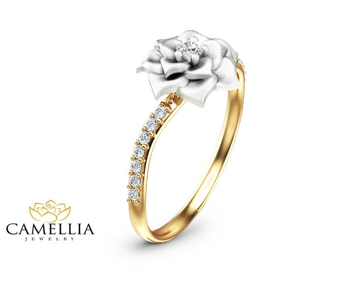 Flower Design Diamond Engagement Ring Unique 14K Two Tone Gold