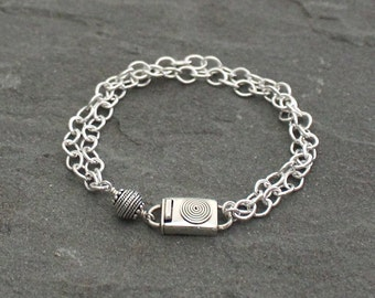 Double Strand Sterling Silver Chain Bracelet, Balinese Silver Box Clasp Bracelet, Bali Silver, Turkish Silver, Balinese Silver Jewelry