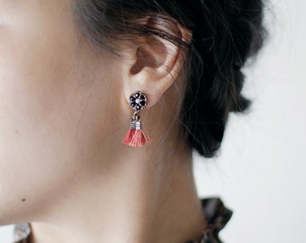 SMALL DANGLE EARRINGS / for sensitive ears / tassel jewelry / small tassel earrings / handmade jewelry / wishpiece