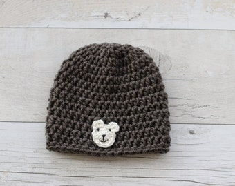 Newborn hat, Baby Boy Hat, Baby Girl Hat, Baby Shower Gift, Infant Photo Prop, Brown
