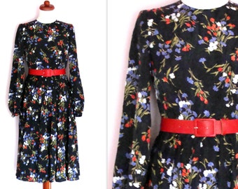 Beautiful Vintage Multicoloured Floral Long Sleeve Dress /Size UK 8-10